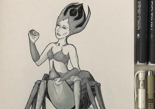 Femme araignée dessinée à l'encre